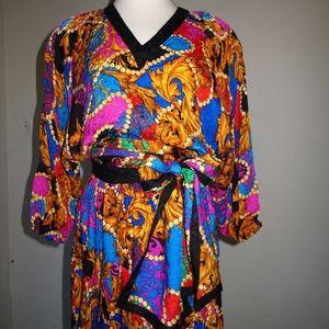 Diane Freis Silk NWT 80s NOS Iconic Bold Colorful